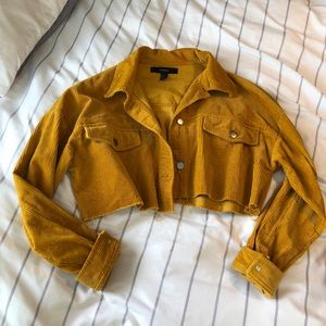 cropped mustard yellow corduroy jean jacket
